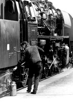 Working on an East German BR50 2-10-0 at Nossen station