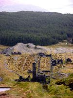 A View of the mill and associated buildings at Rhiwbach mine taken from the top of the incline to the Rhiwbach tramway