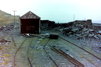 Locoshed at Manod Quarry with disused battery electric inside.