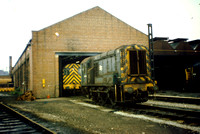 A pair of 08 shunters at the original diesel section of Birkenhead shed.