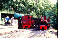 South Tynedale Railway in 1994 with 'Helen Kathryn', built by Henschel of Germany in 1948, in Alston station with Hudswell Clark diesel  now name 'Naworth'