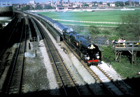 'Clan Line' Merchant Navy pacific crossing the Roodee viaduct Chester 1975
