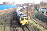 Freightliner 66603 in warrington Low Level yard on gypsum empties