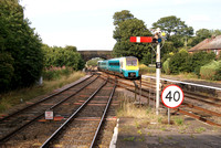 Class 175 DMU entering Helsby station. 28.07.14