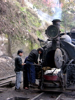 A 'B' Class has it's smokebox cleaned at Darjeeling shed