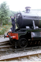 Fitting a headboard to Hall Class 7903 ;Foremarke Hall' at Deeside Halt on the Llangollen Railway. August 2011