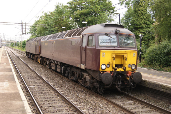 A pair of West Coast Rail Class 47s on the Southall - Carnforth stock transfer run. Acton Bridge. 18.06.14.