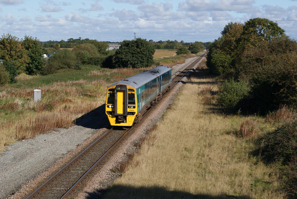 Arriva Class 158 'Sprinter' near Rossett on the former Great Western Chester to Wrexham line