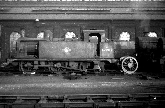 Ex LMS Jinty 47202[with condensing apparatus] at Derby shed