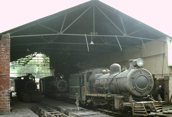 Gwalior shed with a selection of locos in residence.1983