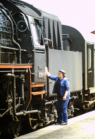 Last minute clean at Nossen station, East Germany.