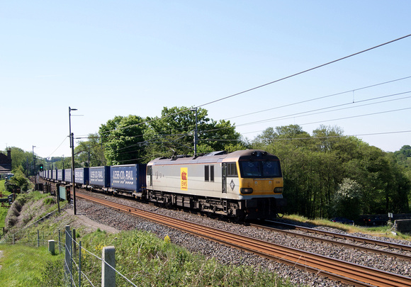 90036 on a container train at Bay Horse on the West Coast mainline. 26.05.12