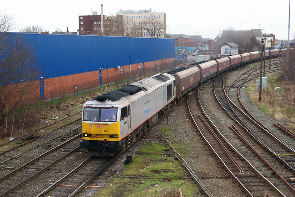 60099 at Warrington on coal hoppers. 23.01.12